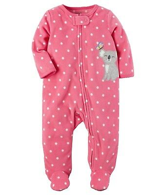New Carter's Fleece Sleep n Play Koala Bear Girl Newborn 3m 6m 9m NWT Pajamas