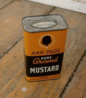 Vintage ANN PAGE Pure Ground MUSTARD TIN Four Ounce SIze