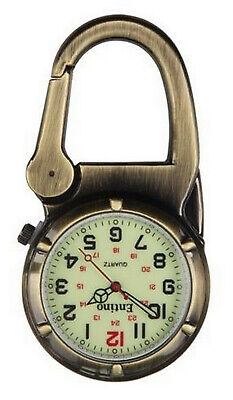 Entino Brand Antique Bronze Clip on Carabiner Sturdy FOB Watch Military Style