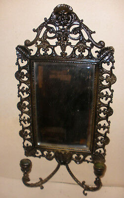 Antique Victorian  Wall Mirror double candle holder sconce with mythical face