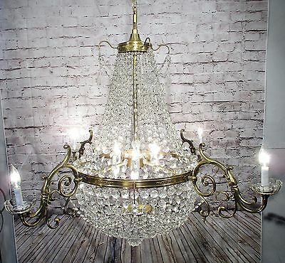 Antique Vintage Chandelier Brass Grand Basket Crystal Waterfall Fixture Light 12