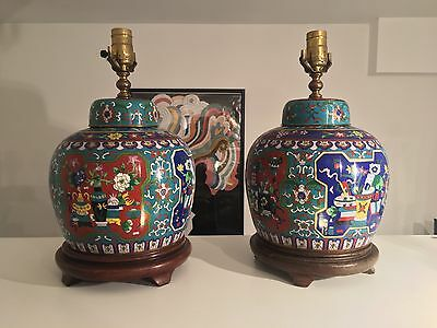 Pair Oriental Cloisonné Lamps Hardwood Bases Objects Of Virtue Chinese Asian