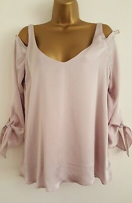 NEW Wallis 8-18 Metallic Champagne Lilac Pink Cold Shoulder Tunic Top Blouse
