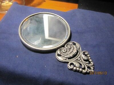 Danish Made White Metal Antique Small Hand Mirror