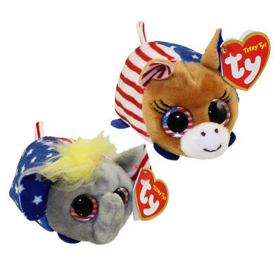 "SET of 2 TY Beanie Boos Teeny Tys 4"" VOTE Democrat & Republican Stackable Plush"