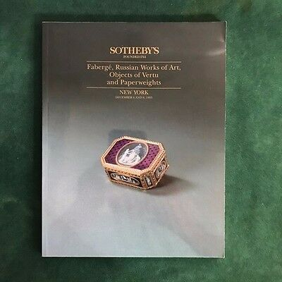 """Sotheby's Auction Catalog """"Faberge, Russian Works of Art"""" Dec. 6 1993"""