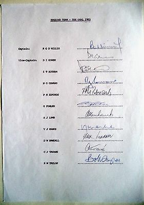 ENGLAND v PAKISTAN 1983 OVAL TEST – CRICKET OFFICIAL AUTOGRAPH SHEET