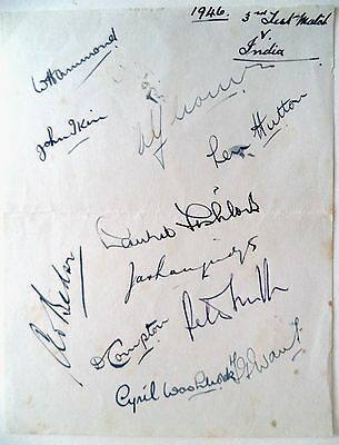 ENGLAND v INDIA 1946, 3rd TEST, THE OVAL - CRICKET AUTOGRAPHED ALBUM PAGE