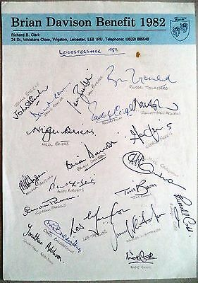 Leicestershire 1982 Brian Davison Benefit Year Cricket Autograph Sheet