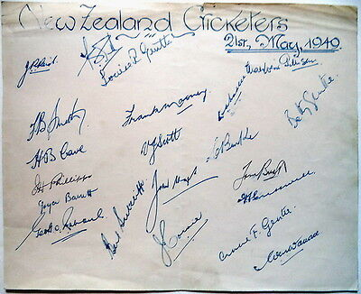 New Zealand In England 1949 – Cricket Autograph Sheet