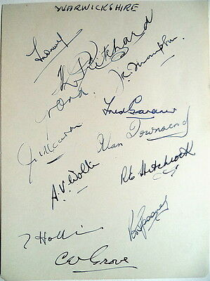 Warwickshire 1951 County Champions Autograph Album Page