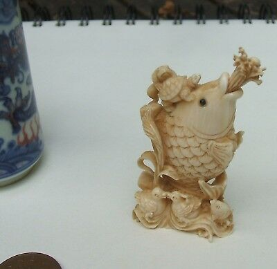 Antique Chinese Snuff Bottle / Highly Decorative Fish, Frog Tortoise & Ducks