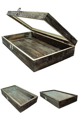 XL Wood Glass Box For Jewelry Watch Ring Display Wooden Organizer Lock Case USA