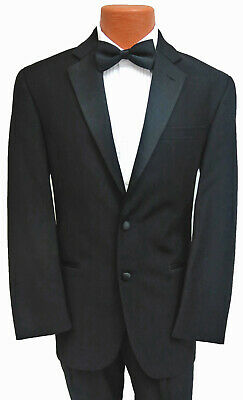 New Calvin Klein Super 100's Wool Tuxedo w/ Flat Front Pants Satin Notch Lapel