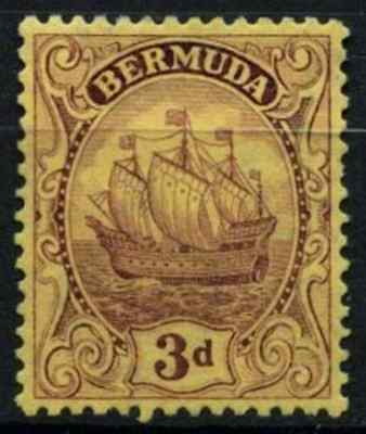 Bermuda 1922-34 SG#84, 3d Purple/Yellow Unused No Gum #D56690