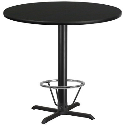 42'' Round Black Laminate Table Top W/ 33'' X 33''  Bar Ht Base Foot Ring