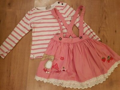 Next girls strawberry bunny range pink braces skirt & top tights outfit set 3-4