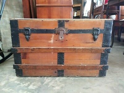 1800's Antique Flat Top Steamer Trunk Chest with out trays