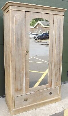 Antique Victorian Solid Stripped Pine Single Door Wardrobe With Drawer Beneath