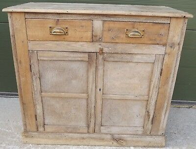 Small Pine Two-Door Cupboard Sideboard Reclaimed Wood In The Antique Style