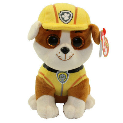 "TY Beanie Baby 6"" Paw Patrol RUBBLE Bulldog Plush Stuffed Animal Toy MWMT's"