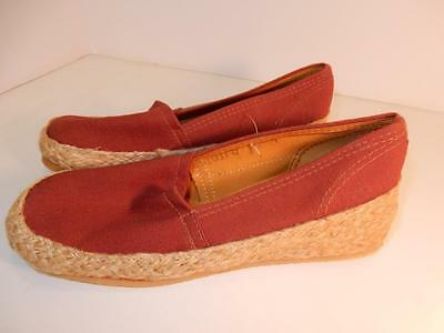 Vintage Lady's Mid Century Nos Keds Grasshoppers 5 1/2 Shoes Brown Summer Wedge