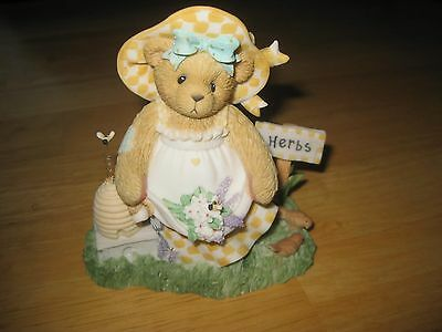 "Cherished Teddies 2002 Flo ""Gather Friendships Like Blossoms"" Figurine Herbs Bee"