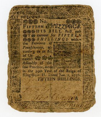 (PA-75) Jan. 1st, 1756 15s PENNSYLVANIA Colonial Note printed by Ben Franklin!