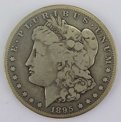 1895-S VG-F Key Date Morgan 90% Silver Dollar Old US Coin M014