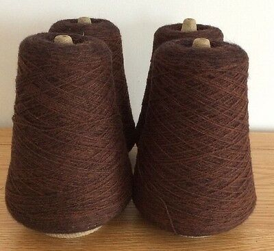 4 Cones Of 2 Ply Machine Knitting Wool Brown And Black Mix