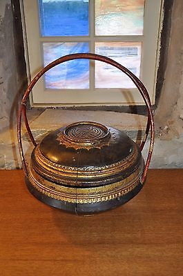 Chinese Bride's Basket - Wood with Gold  and Red Trim