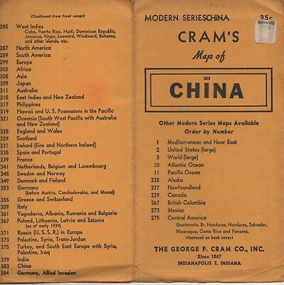 Vintage 1940's Cram's Map of China