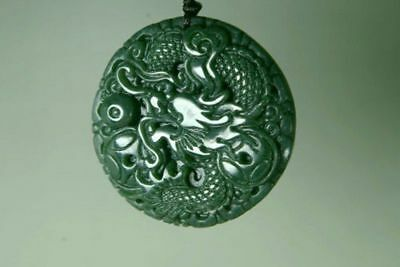 Natural Green Hand-carved Chinese Hetian Jade Pendant -dragon-Free Necklace-100%