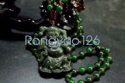 Natural Green Hand-carved Chinese Hetian Jade Pendant -Buddha-Free Necklace 100%
