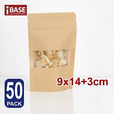 50x Stand Up Bag Kraft Paper Seal Packaging Window Zip Lock Pouch Food Sealing S