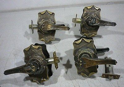 set of 4 antique vintage door Knobs, locks, handles. Very ornate pieces. Old pcs