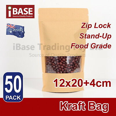 50x Stand Up Bag Kraft Paper Seal Packaging Window Zip Lock Pouch Sealing M