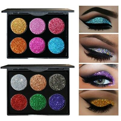 Glitter Shining Eye Shadow Shimmer Cosmetics Makeup Eyeshadow Palette 6 Colors