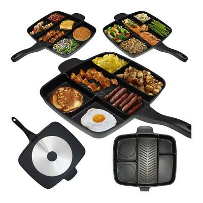 New 5 in 1 Fry Pan Divided Grill Fry Oven Meal Skillet Black Fryer Pan Non-Stick