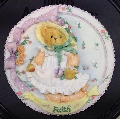 """Cherished Teddies Round Wall Ornament """"FAITH"""" Plate Decoration 1994 Excellent!"""