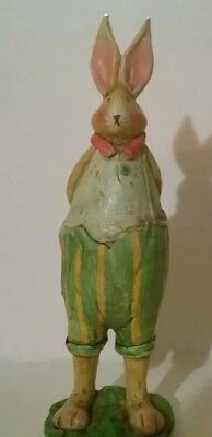 Collectible Raz Ceramic Rabbit Figurine in Knickers with Carrots behind his back