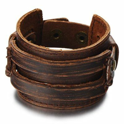 Crocodile Dundee Mens Costume Leather Wristband Wide Bracelet Cool Halloween