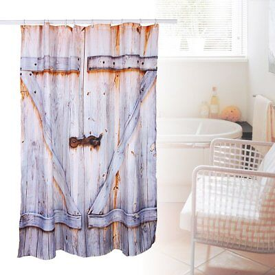 Polyester Shower Curtain Bath Decor Rustic Country Barn Door Waterproof +12 Hook