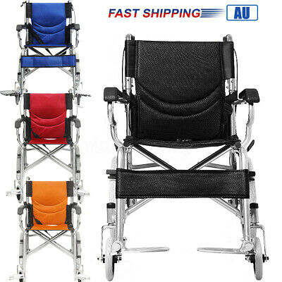 Folding Transport Wheelchair Aid Park Brakes Push Armrests Mobility Aid Steel