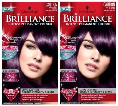 2 X Schwarzkopf Brilliance Intense Permanent Hair Colour 85 Violet Vision