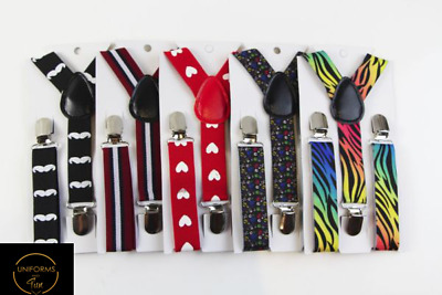 Boys Suspenders - Adjustable Elastic Lightweight Patterned Braces- Many Designs