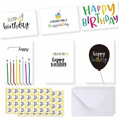 48 Pcs Happy Birthday Greeting Cards Design Assorted Lot Set + Envelopes