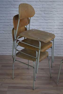 Set Of 4 Vintage Industrial Stacking Cafe Bar Dining Chairs