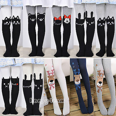 Kids Girls Cartoon Cute Long Pants Cotton Stretchy Thick Warm Footed Leggings