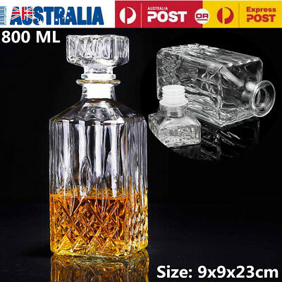 800ml Vintage Decanter Glass Liquor Whiskey Crystal Bottle Wine Stopper Scotch